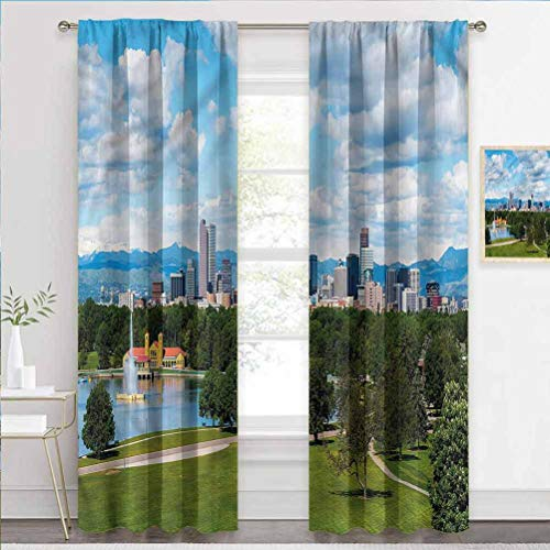 painting-home Decorative Blackout Curtains Urban, Sunny City Park at Denver Blackout Patio Door Curtain Panel Blocks The Light & Muffles Sound W55 x L39 Inch