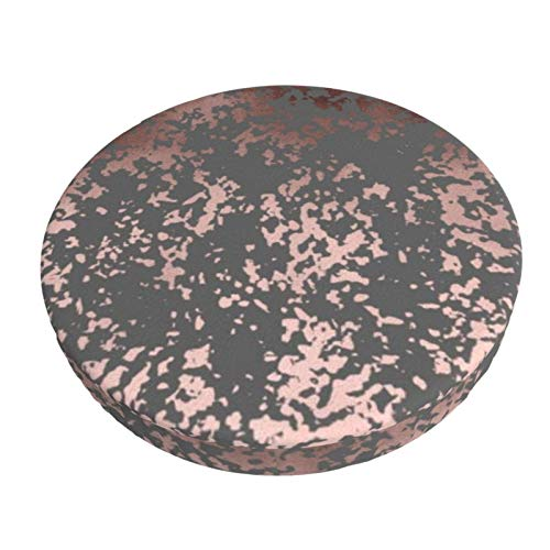 Luase Round bar Chair Cushion Cover Breathable Washable Stool Cover,Elegant Faux Rose Gold and Grey Brushstrokes Barstool Seat Covers Elastic Stool Slipcover 13 Inch