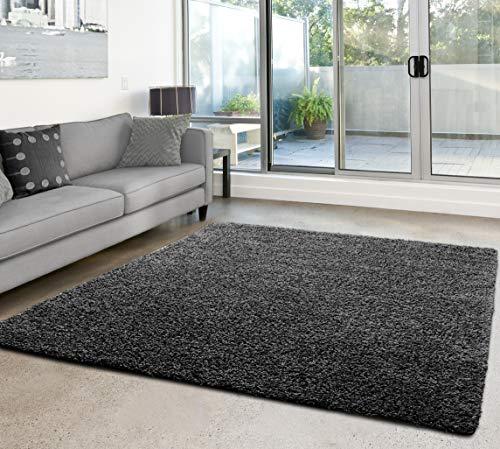 Shaggy-Teppich | Flauschiger Hochflor fürs Wohnzimmer, Schlafzimmer oder Kinderzimmer | einfarbig, schadstoffgeprüft, allergikergeeignet in Farbe: Dunkelgrau; Größe: 120x170 cm
