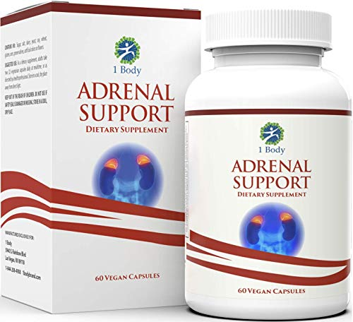 Adrenal Support - (Vegetarian) - A complex formula containing Vitamin B12, B5, B6, Magnesium, Ginger Root Extract, Astragalus Root, Schizandra Berry, Licorice & more - 30 Day Supply by 1 Body