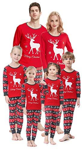 Christmas Deer Family Matching Pajamas 100% Cotton Sleepwear 2 Pieces Set Red Santa Elk Pjs Size 6t (Apparel)