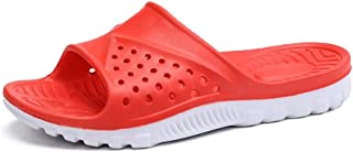 LIU-DUN SHOES Mens Leisure Pool Slides Sandals Water Slippers for Men Indoor Summer Beach Plastic EVA Soles Lightweight Soft Cushioning Solid Color Vegan Youth Trendy (Color : Red, Size : 7.5 UK)
