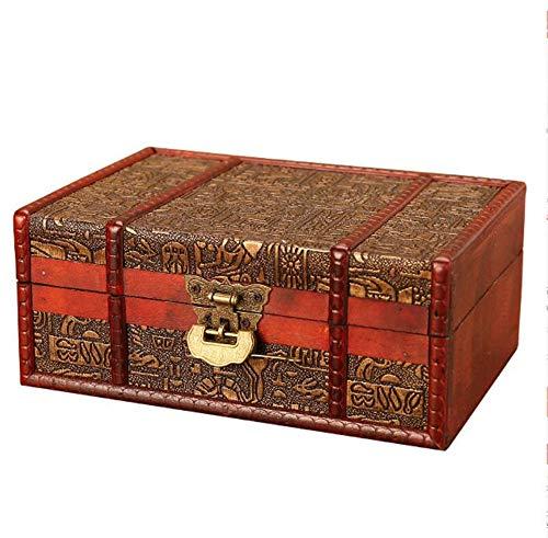 Trousses à Maquillage Égyptien Européen Antique en Bois Bijoux Boîte De Rangement Vintage À La Main Maison Bureau Finition Décoratif en Bois Boîte Artisanat Cadeaux