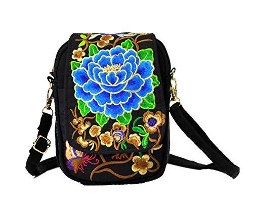Eagsouni® Damen Gestickte Blumen Tasche Ethnische Schulter Beutel Mädchen Canvas Freizeit Crossbody Handtaschen