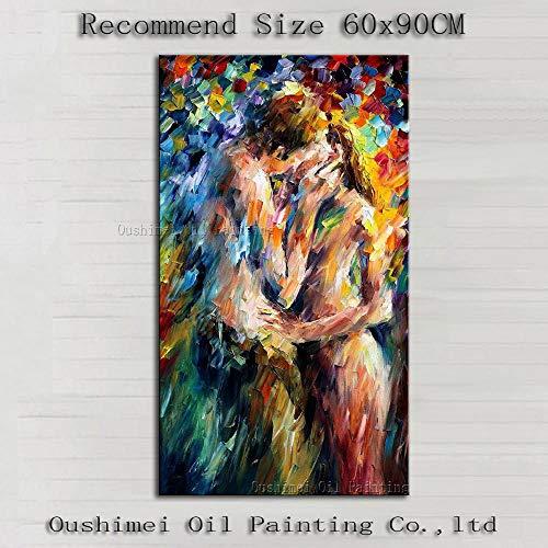 ZNuQP Moderno Abstracto Paleta Cuchillo Pintura al óleo sobre Lienzo Pareja Desnudo Retrato Amantes besándose Arte Decorativo de la pared-70x100cm-Sin Marco