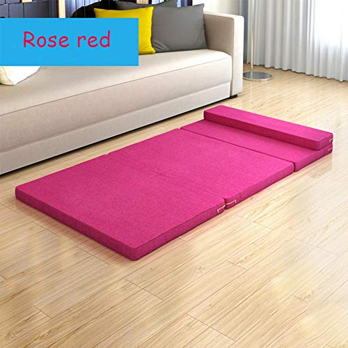 YQ WHJB Foldable Tatami Floor Mat, 5cm Thick Floor Futon Mattresses Office Nap Pad Sleeping Pad For Home Camping Travel-rose Red 70x180x5cm