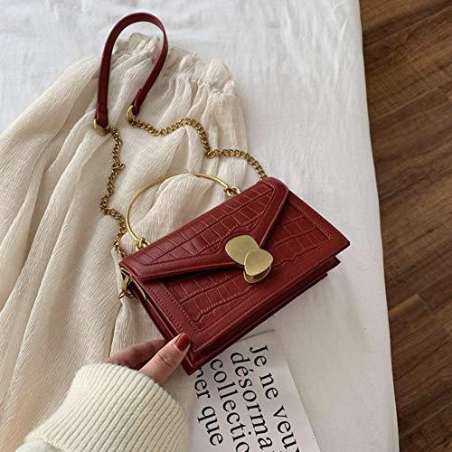 LOH Épaule Poignée Bandoulière Sacs Femmes Épaule Messenger Sac Femelle Petite Chaîne Sacs À Main, Rouge, 20 cm x 13 cm x 7,5 cm