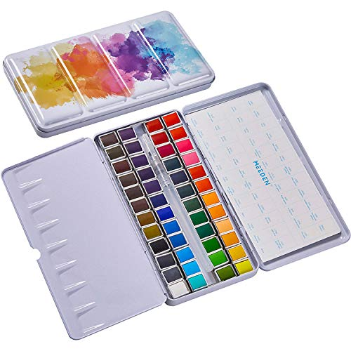 MEEDEN Watercolor Paint, 48 Vibrant Colors Watercolor Travel Pan Sets with Watercolor Tin Palette, Non-Toxic for Students, Beginners Art Painting