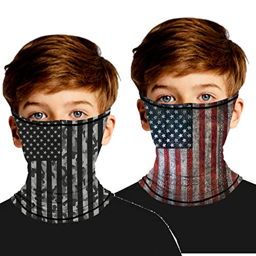 Ainuno Kids Gaiter Mask Cooling Neck Gaiter for Kids Boys Girls Cool Face Bandana Mask USA Flag Printed Balaclava Scarf Face Cover Wrap for Summer Sun Protection Fishing 8 10 12 Years,American Flag M