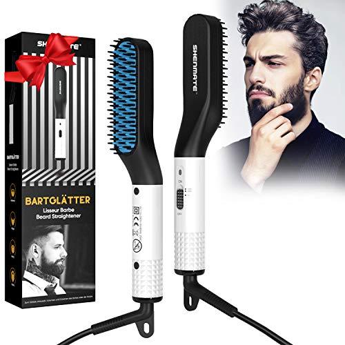 Bartglätter für männer, Bart Glätteisen Multifunktionale Schnelle Haarglätter Bürste für Bart und Haar, Elektroheizung Bartkamm Anti Verbrühen, Schnelle Sichere Einstellbare Temperatur bis zu 200°C