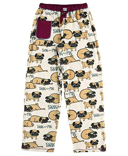 Lazy One Pajamas for Women, Cute Pajama Pants and Top Set, Separates, Pug, Snuggle, Dog, Animal