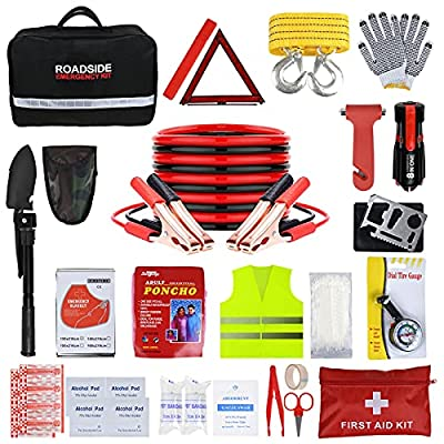 ISWEES Car Emergency Kit with Jumper Cable, Emergency Roadside Car Kit Roadside Assistance Tool for Truck Vehicle Safety Emergency Kit with Shovel(11.5 x 6.5 x 3 inches)