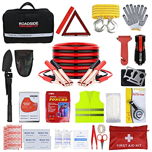 ISWEES Car Emergency Kit with Jumper Cable, Roadside Assistance Tool for Truck Vehicle Safety Emergency Kit with Shovel(12.5 x 7.5 x 3.5 inches)
