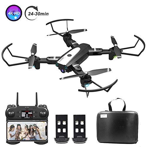 0BEST Dron con Cámara 4K HD, Avión WiFi FPV, Modo sin Cabeza, Foto Gestual, Regreso con un Solo Botón, 360 Flip, 30 Minutos de Tiempo de Vuelo (2 Baterías), Cuadricóptero Plegable, para Principiantes
