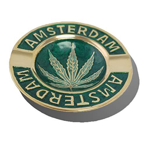 Spliff Messing Aschenbecher handgefertigt Amsterdam Cannabis Blatt (Ø 7 cm, Grün)