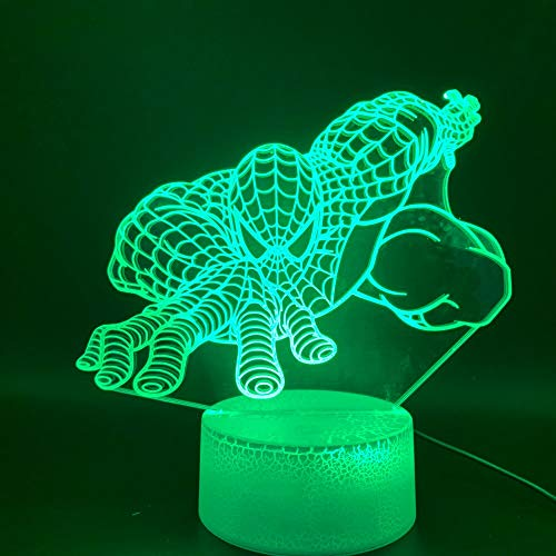 Geburtstagsgedenkgeschenk 3d Light Superhero Spider Produkt Superheld LED Nachtlicht Spider Christmas Smart Night Light