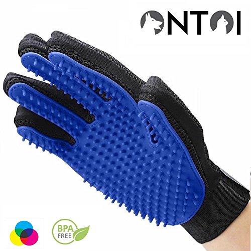 Ontoi - Hond Grooming Handschoen met Speciale Gefabriceerd voor een gelijkmatige Grondige ABS Afstand Losse Dier Haar Premium Huisdier Grooming Handschoen Borstel, Blauw