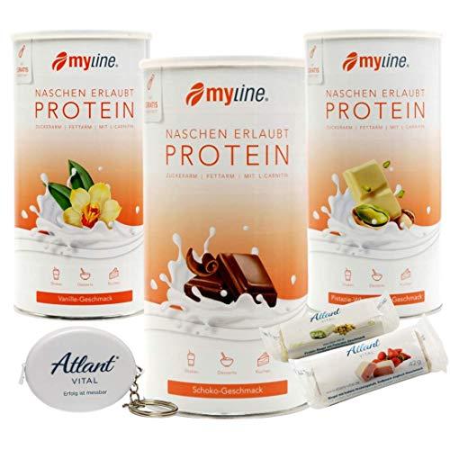 Myline Eiweiß Shake Protein Pulver 3er Pack + Atlant Vital Maßband und 2 Proteinriegel (Schoko-Vanille-Pistazie)
