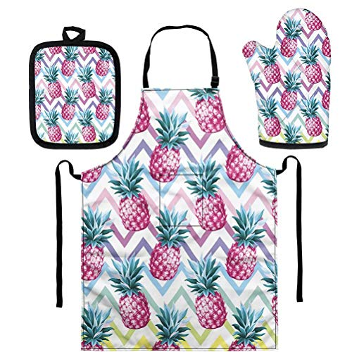 AFPANQZ Stylish Pineapples Apron + Oven Mitt Pot Holder Set Kitchen Linens Ovenmitt Potholder with Loop Kit Waterproof Aprons Housewarming Gift, Kitchen Necessity for Baking Cooking BBQ Pink