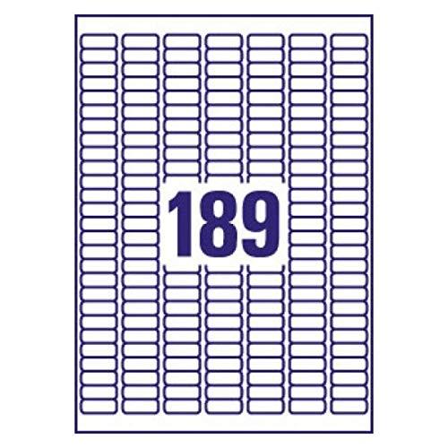 Avery J8658-25 Self-Adhesive Mini Filing Labels, 189 Labels Per A4 Sheet