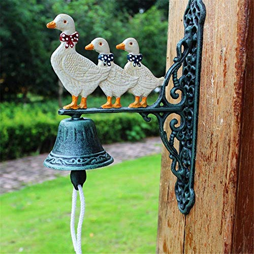 NBVCX Furniture Decoration Iron Cast Door Bell Rustic Retro Cast Iron Doorbell Wrought Three Ducks Home Wall Decoration Garden Decoration Decoration (Color : Multi Colored Size : Free Size)