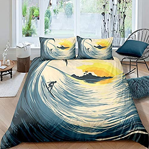 SmoIocn Kids Bedding Set - Single (135 X 200 Cm)+2 Pillowcases tropical Xiawei Ocean Nautical Surf Boy Duvet Cover And Pillowcase 100% Polyester/Cotton 3 Pics Reversible Patterned Soft And Smooth Easy