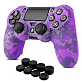 TNP PS4 / Slim / Pro Controller Skin Grip Cover Case Set - Protective Soft Silicone Gel Rubber Shell & Anti-slip Thumb Stick Caps for Sony PlayStation 4 Controller Gaming Gamepad (Camo Mosaic Purple)