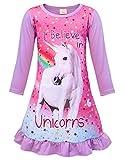AmzBarley Chemise de Nuit Licorne Fille Enfant La Robe du Soir Robes Chemises de Nuit Arc en Ciel Chambre Manche Longue en Train de Dormir Vêtements pour Filles