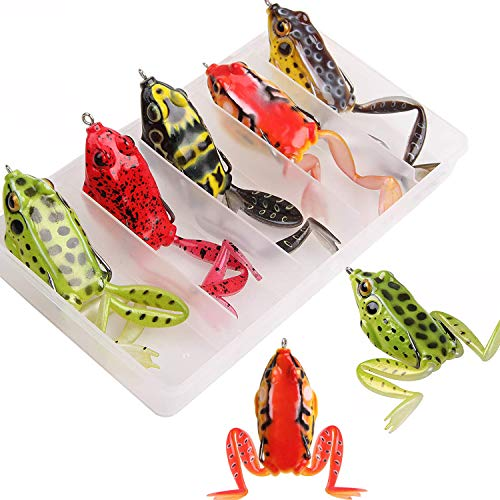 Topwater Frog Lure Soft Fishing Lure Kit with Tackle Box Artificial Hollow Frog for Bass Pike Snakehead Dogfish Musky, Pack of 5