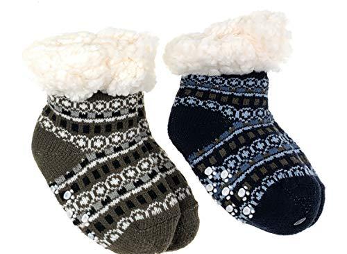 2 Paar Baby Hütten Socken Kinder Home Socks mit Teddyfutter Kuschelsocken Lammfellimitat ABS-Sohle Größe 0-12 M, Farbe Set 3 - blau/Bordeaux
