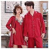 CPPI-1 Pijamas de Primavera y Verano para Parejas, El Sr. y La Sra. Pijama Se Casan Pijama de Pareja PJ- Rojo