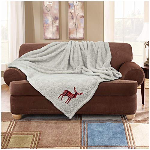 GAVENO CAVAILIA Luxury Emb Stag Fleece Blanket, Extra Warm & Cosy Sofa Bed Settee Rug, Super Soft Cuddly Reversible Thermal Teddy Throw, Cream, Large Size (150 x 200 cm)