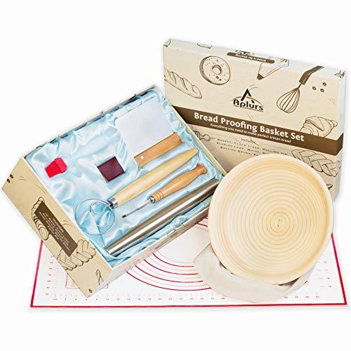 Complete Sourdough Bread Making Kit - Banneton Proofing Basket Set- 8 PCs -10' Round Bowl,cloth Liner, Scraper, Scoring Lame, Rolling Pin, Danish Whisk, Basting Brush, Pastry Mat For Bakers