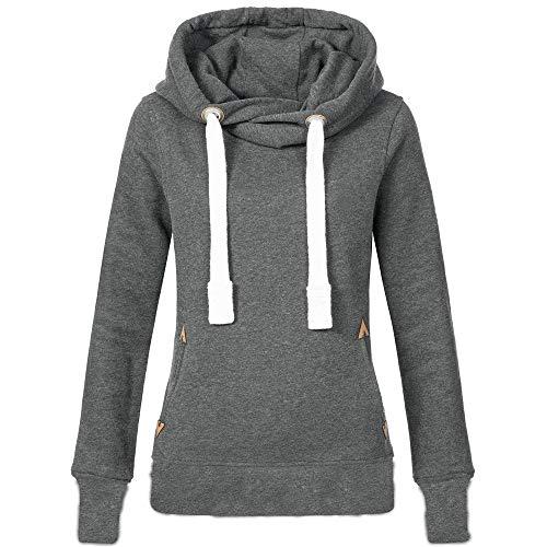 OSYARD Damen Hoodie Sweatshirt,Oberseiten,Hooded Pullover, Frauen Tunika Hemd Oberteile Große Größe Langarm Kapuzenpullover T-Shirt Tops Bluse mit Kapuze TascheKapuzenpullis(XL, Grau)