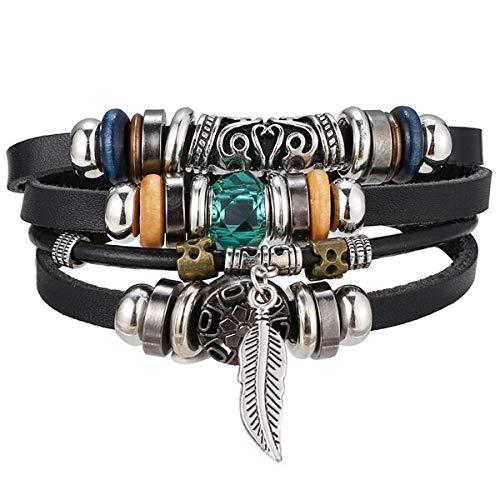 Pentagrama múltiples capas pulseras de cuero hombres clásico cuerda cadena Ch pulsera para hombres brazalete joyería