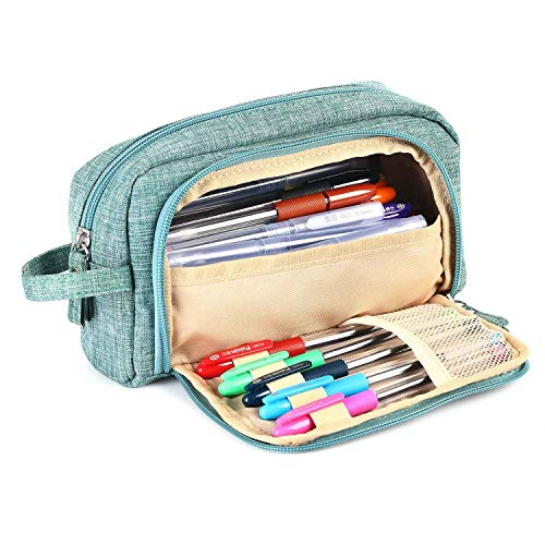 Big Capacity Colored Canvas Storage Pouch Marker Pen Pencil Case Simple Stationery Bag Holder for Middle High School Office College Student Girl Women Adult Teen Adult Simple Large Storage (Green)
