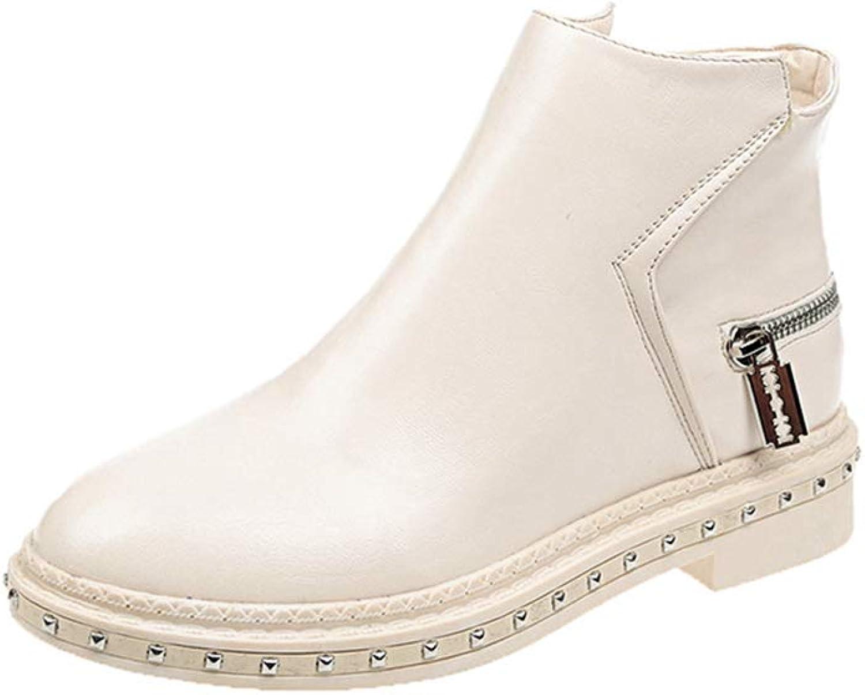 Zarbrina Womens Flat Platform Ankle Boots Fashion Round Toe Rubber Sole Cotton Fabic Zipper Up Winter Slip On shoes
