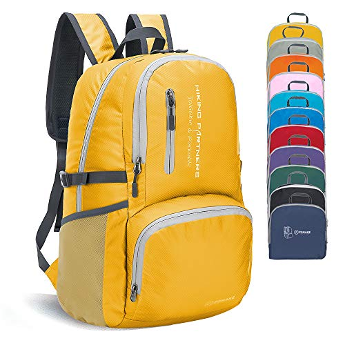 ZOMAKE Lightweight Foldable Backpack, Small Unisex Nylon Daypack, Water Resistant Rucksack for Men Women Hiking Travel (Yellow)