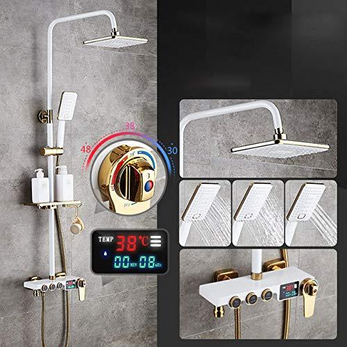 SJIUH Juego de Ducha Mezclador de Grifo de Ducha de baño de Oro Negro Juego de Ducha de baño frío y Caliente Pantalla Digital de Temperatura Grifo de Grifo de Ducha de baño, 0530B5, Termostático