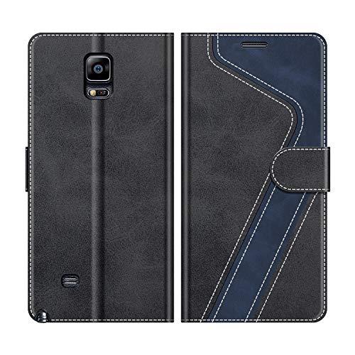 MOBESV Handyhülle für Samsung Galaxy Note 4 Hülle Leder, Samsung Galaxy Note 4 Klapphülle Handytasche Case für Samsung Galaxy Note 4 Handy Hüllen, Modisch Schwarz