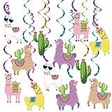 20Pcs Llama Cactus Hanging Swirl Decorations, Llama Party Hanging Swirl Bolivian Peru Alpaca Party Llama Birthday Party Supplies for Cinco De Mayo Mexican Fiesta Party Llama Baby Shower Decoration