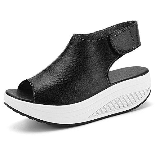 DAFENP Sandali con Zeppa Donna Estivi Comode Cuoio Platform Sandalo Eleganti Plateau Scarpe con Tacco per Camminare (36 EU, Beige)