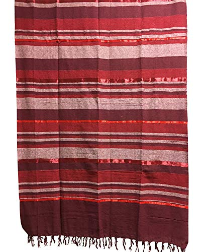 Rajasthan Cottage Indian Classic Ribbed Cotton Striped Tapestry Coverlet Bedspread (Queen Size) (Wine Tones)