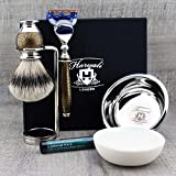 Haryali London 6 Pc Mens Shaving Kit 5 Edge Razor with Silver Tip