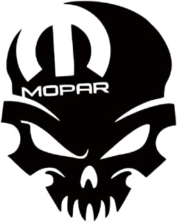 CarTats Skull Premium Waterproof Vinyl Decal Compatible with Mopar Dodge Chyler Trucks 1500 Charger Challenger Window Bumper Sticker Door Toolbox Choose Size and Color (5x4, White)