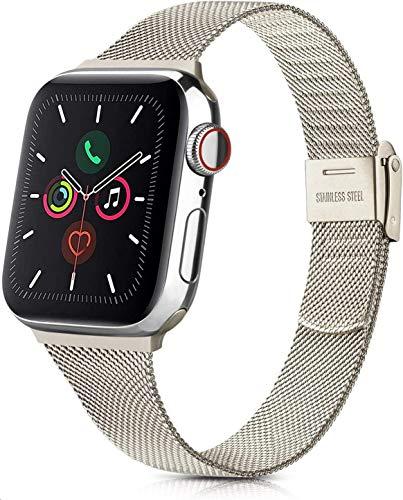YLK - Pulsera de metal compatible con Apple Watch 38 mm, 40 mm, 42 mm, 44 mm, acero inoxidable de metal compatible con iWatch 6, 5, 4, 3, 2, 1 y SE, hombres y mujeres (42 mm, 05 champán dorado)