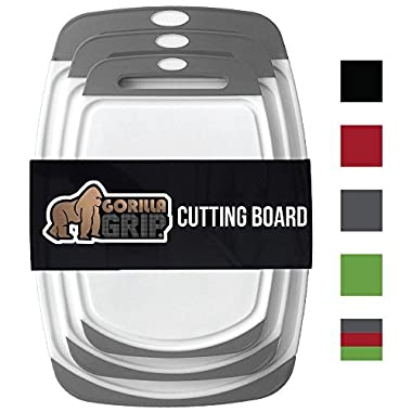 GORILLA GRIP Original Reversible Cutting Board (3-Piece Set) for Kitchen, BPA Free, Easy Grip Handle, Dishwasher Safe, Non-Porous, Boards are Extra Large and Thick, Juice Grooves (Set of Three: Gray)