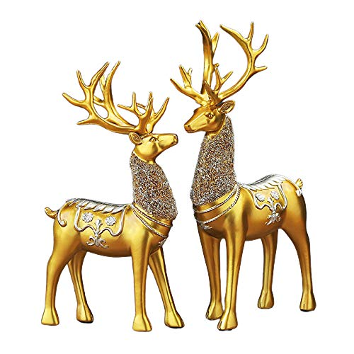 Warme Christmas Reindeer Figurines, 2 Pieces Of Resin Sitting and Standing Deer Statue Decorations for Office Bedroom (Gold 2)