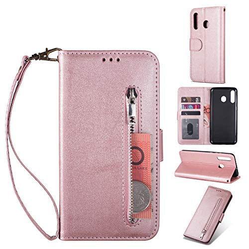 Zipper Wallet Case with Black Dual-use Pen for Samsung Galaxy A20/A30,Aoucase Money Coin Pocket Card Holder Shock Resistant Strap Purse PU Leather Case for Samsung Galaxy A20/A30 - Rose Gold
