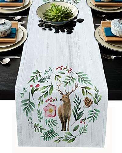 Yun Nist Table Runner Burlap Watercolor Reindeer with Branches 14x72In, Linen Tables Cover Tablecloth for Party, Family Dinners, Gatherings, Wedding Events, Holiday Banquet Retro Wooden Plank